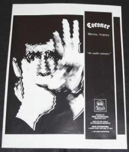 Coroner - Mental Vortex Foundations Magazine Trade Ad 1991