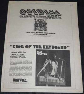 Preston, Billy & Osibisa 1/3/74 Rolligng Stone Magazine Ad
