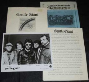 Gentle Giant - Playing The Fool & Missing Piece Promo Press Kit