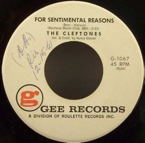 Cleftones - For Sentimental Reasons / Deed I Do Vinyl 45 7