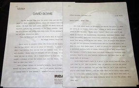 Bowie, David - Hunky Dory RCA Promo Press Kit