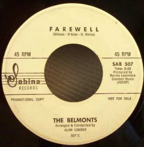 Belmonts - Diddle Dee Dum / Farewell Vinyl 45 7 Promo
