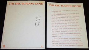 Burdon, Eric - Sun Secrets 1974 Promo Press Kit
