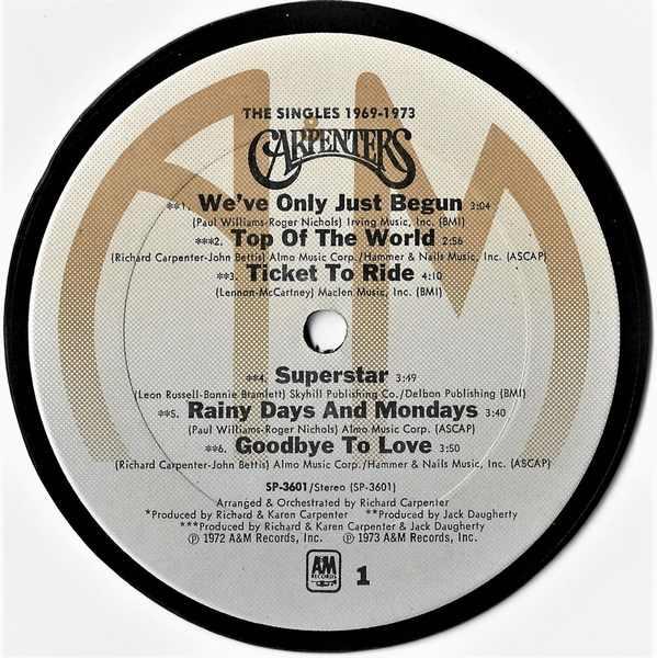 CARPENTERS - Singles 1969 - 1973 - Sous-Boque