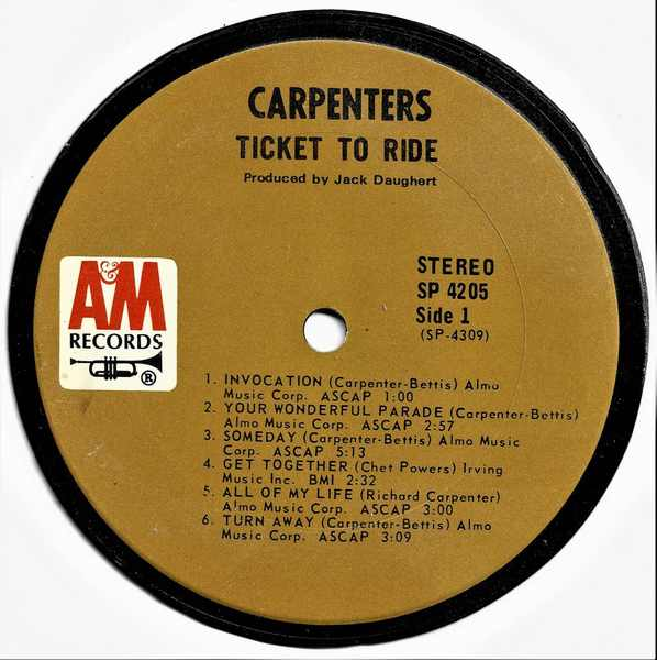 CARPENTERS - Ticket To Ride - Sous-Boque