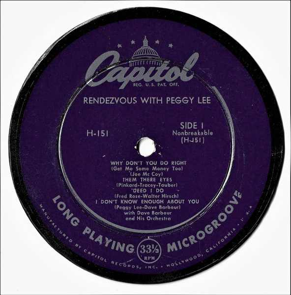 LEE,  PEGGY - Rendezvous With Peggy Lee - Drink Coaster