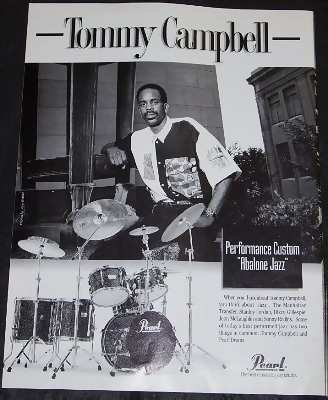 Campbell, Tommy - Pearl Drums Trade Ad - Click Image to Close