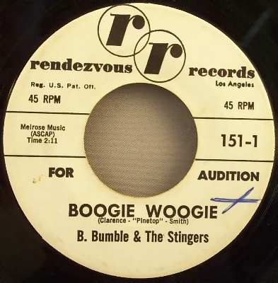 B. Bumble & The Stingers - Boogie Woogie / Near You 45 Promo - Click Image to Close