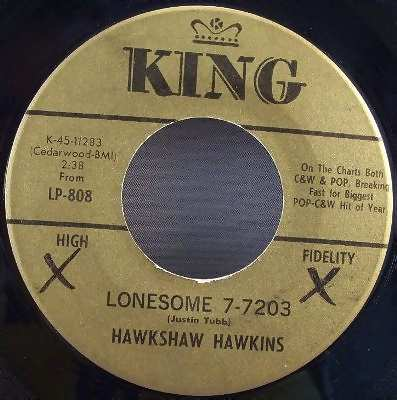 Hawkins, Hawkshaw - Lonesome 7-7203 / Love Died Tonight 45 7 - Click Image to Close