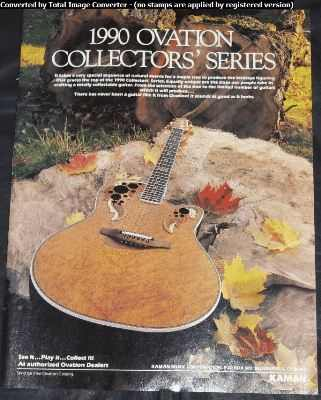 OVATION GUITARS - 1990 Collectors Series Trade Ad - Autres