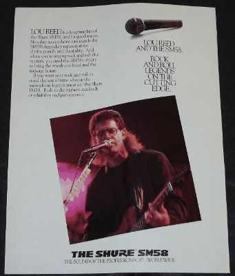 REED,  LOU - Lou Reed & Shure SM58 Musician Trade Ad - Autres