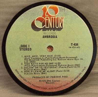 AMBROSIA - Self Titled Ambrosia - Sous-Boque