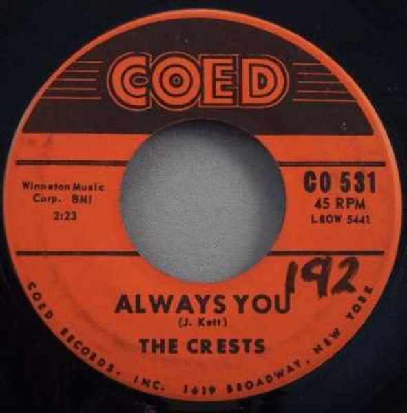 CRESTS - Always You / Trouble In Paradise - 45T x 1