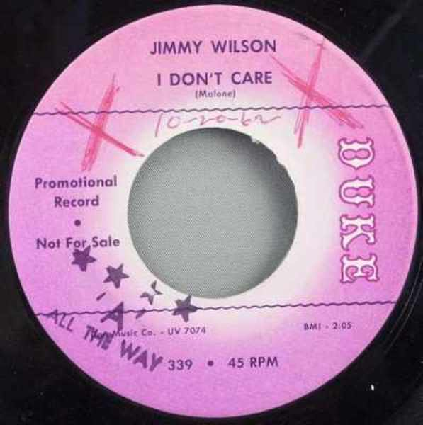 WILSON,  JIMMY - I Don't Care / Patiently - 7inch x 1