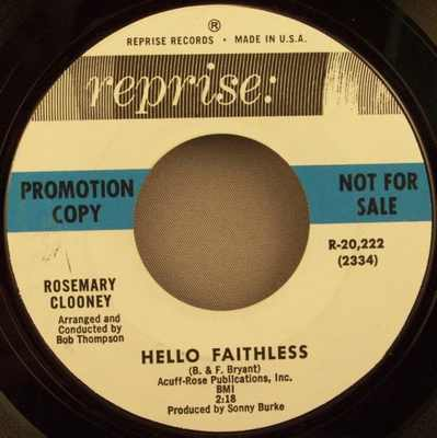 CLOONEY,  ROSEMARY - A Hundred Years From Today / Hello Faithless - 7inch x 1