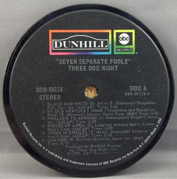 THREE DOG NIGHT - Seven Separate Fools - Drink Coaster
