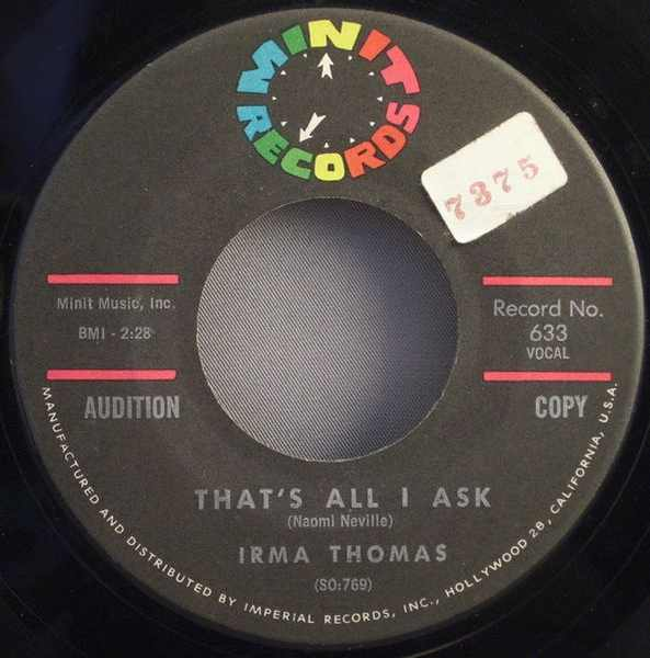 THOMAS,  IRMA - That's All I Ask / It's Too Soon To Know - 7inch x 1