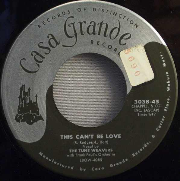 TUNE WEAVERS - This Can't Be Love / My Congratulations Baby - 7inch x 1