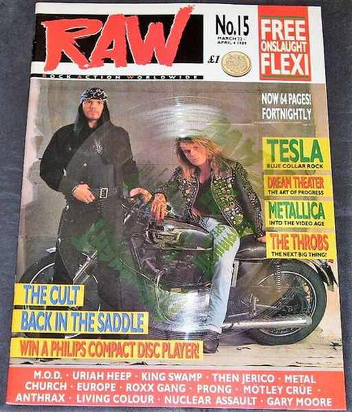 RAW MAGAZINE - 1989 No. 15 The Cult, Onslaught Flexi-Disc - Magazine