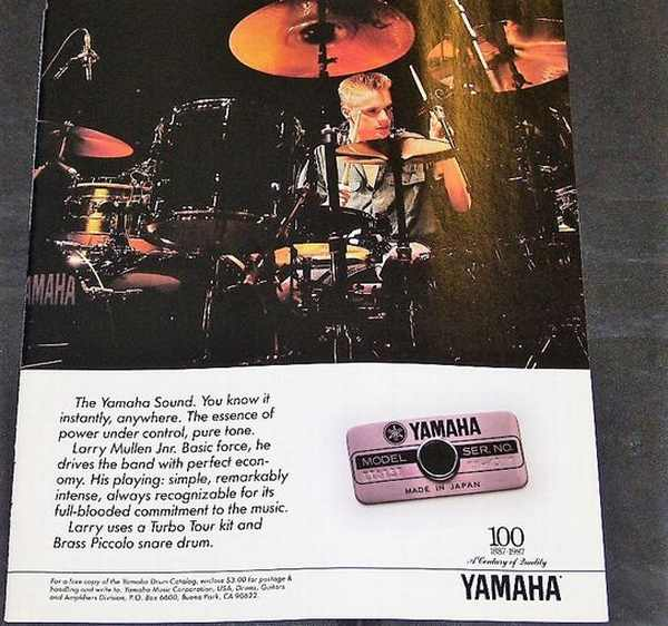 U2 - Larry Mullen Yamaha Drums Magazine Ad 1987 - Others